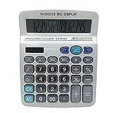 BALUZ Standard Function Desktop Calculator,Dual Powered,14 Digits Portable Silver White Color