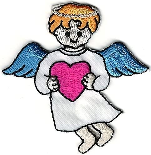 Angel Holding Pink Heart Embroidery Patch