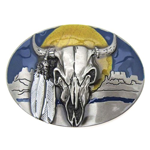 Indian Feather Bull Cow Head Skull Animal Belt Buckles Men ()
