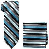 Pierre Cardin Men's Stripe Tie and Pocket Square, black/aqua, One Size