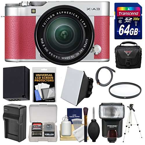 Fujifilm-X-A3-Wi-Fi-Digital-Camera-16-50mm-II-XC-Lens-Pink-with-64GB-Card-Battery-Charger-Case-Tripod-Flash-Filter-Kit
