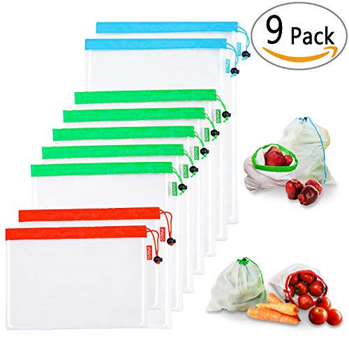 Reusable Mesh Produce Bags Set of 9   High-strength & Light-weight Mesh for Products Recognisable   Various-sized w/Tare Weight Tag   Multi-used for Grocery Shopping, Storage Toys