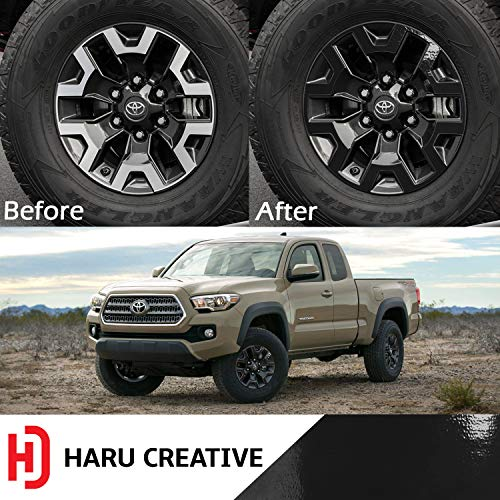 Haru Creative - Wheel Rim Overlay Vinyl Decal Sticker Compatible with and Fits Toyota Tacoma TRD Off Road 2016-2018 - Gloss Black