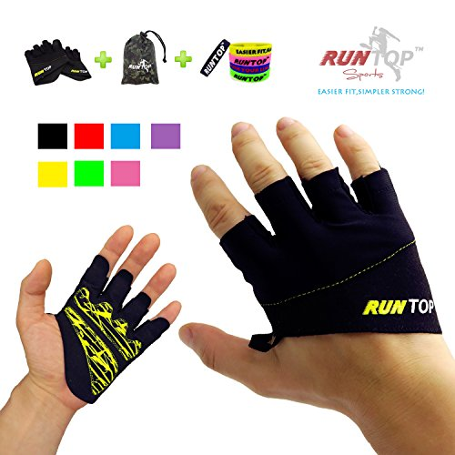 RUNTOP Workout Gloves Weight Lifting Grips with Silicon Padding by Exercise Gloves Perfect for Women Men Crossfit Training WODS Weightlifting Bodybuilding Powerlifting Gym Fitness (Yellow, XS) ()