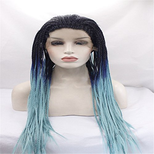 Cool2day Women's Long Braided Synthetic Lace Front Hair Blue and Black Mixed Wig Halloween Cosplay Wig Anime Costume Party (Easy Self Made Halloween Costumes)
