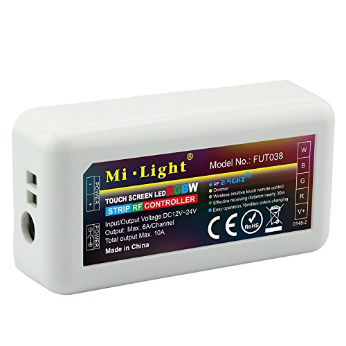 LED Strip Lights Controller 2.4G 4-Zone LED RGBW RF Mi Light Series Color Changing and Brightness Dimming for RGBW Strip Lights (FUT038)