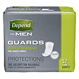 Depend Guards for Men, Maximum Absorbency Incontinence Protection, 52-Count (Pack of 4) , Depend-rued