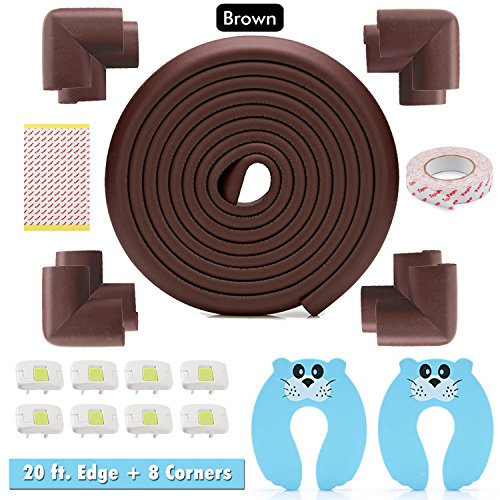 Edge & Corner Guard Set - 20ft Foam Sharp Edge and 8 Corner Protector: Baby & Child for Furniture, Table, Chair, Console, Wall Protector Package, Door Stopper - Electrical Socket Cover (Brown) - Edge Package