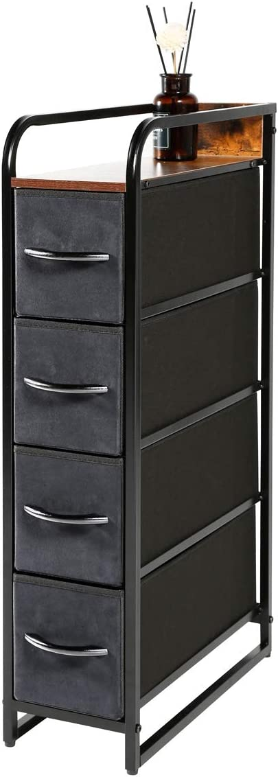 Kamiler 4-Drawer Narrow Dresser Storage Vertical, 4-Tier Organizer Tower Unit for Bedroom/Closets/Hallway/Entryway/Laundry Room, Sturdy Steel Frame, Wooden Top, Removable Fabric Bins (Rustic Brown)