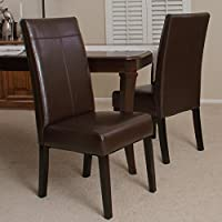 Best Selling Lisa PU Dining Chair, Chocolate Brown, Set of 2