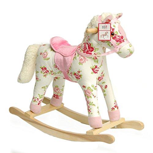 Schaukelpferd Pinky | Pink Papaya | Kinder und Baby Schaukeltier, Schaukelstuhl, Schaukel mit Sound | Kopfhöhe ca. 58 cm | Sitzhöhe ca. 40 cm | Farbe: weiß mit Blumenmuster