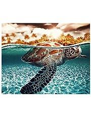 S-TROUBLE Tortuga sin Marco DIY Pintura al óleo Digital por números Lona Moderna Pared Arte Mano