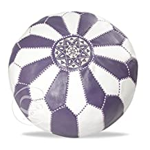 Handmade purple and white leather pouf