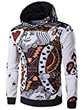 Imixcity Men's 3D Playing Cards Poker Printing Pullover Hoodie Sweatshirts white L