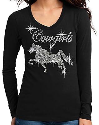 Interstate Apparel Inc Cowgirls Horse Rhinestone V-Neck Long Sleeves T-Shirt Juniors S-3XL Black