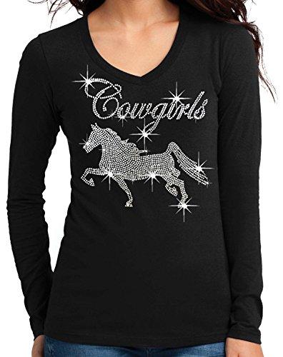 Cowgirl Horse Rhinestone V-Neck Long Sleeves T-Shirt Juniors S-3XL Black (M (Juniors), Black)
