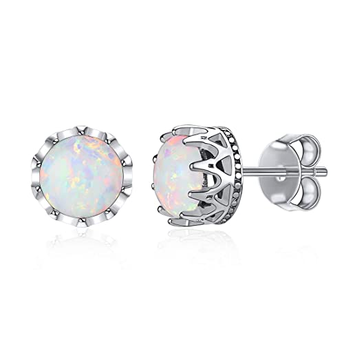 f456c5c7a Image Unavailable. Image not available for. Color: ChicSilver Hypoallergenic  925 Sterling Silver 8mm Round Brilliant Crown Opal Stud Earrings ...