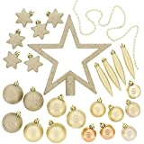 Festive 50 Piece Assorted Christmas Ornament Set, Light Gold