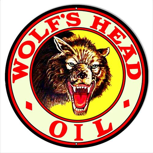 Oil Reproduction Motor - Garage Art Signs Wolfs Head Motor Oil Reproduction Metal Sign 14x14 Round