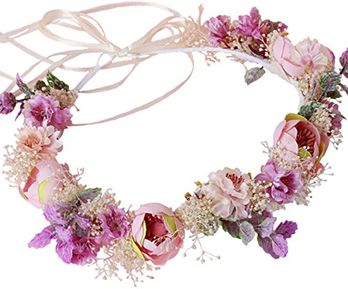 Vivivalue Breath Dried Preserved Fresh Flower Wreath Headband Crown for Festival Wedding Pink