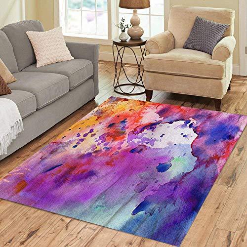 Pinbeam Area Rug Watercolor Pastel Abstract Paint Splatter Orange Stoke Painting Home Decor Floor Rug 3' x 5' Carpet