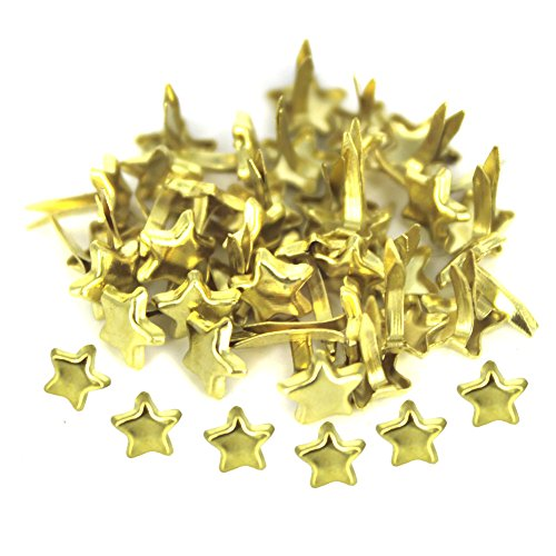tars Shape Design Metal Brads Paper Fastener for Scrapbooking DIY Paper Craft Stamping (Gold Star Brads)