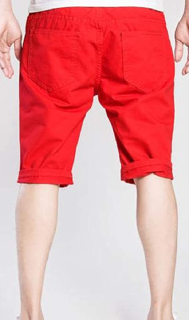 Joe Wenko Mens Crimping Classic Pocket Washed Distressed Hole Denim Shorts