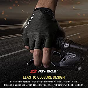 RIVBOS Motorcycle Bicycle Mountain Bike Gloves for Men Women Cycling Riding Driving Sports Outdoors Exercise with Fingerless Fashion Design Foam Padding Breathable Mesh CHG001 (Black S)