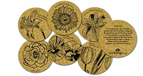 Corkology Flowers Coaster Set, Cork