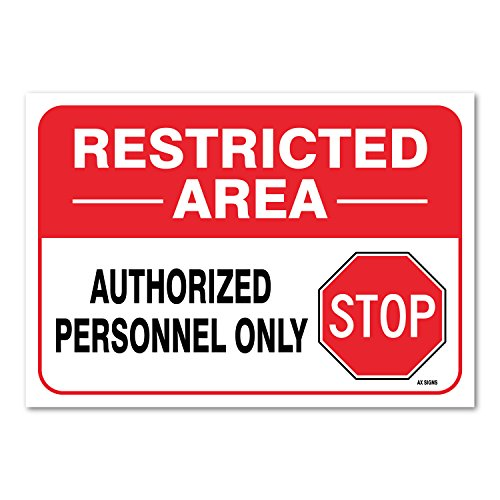Sticker 10 ((2 PACK) Restricted Area Sign, Large 10 X 7
