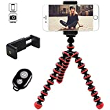 Hi-tec Mini Universal Portable Adjustable Octopus Cell Phone Tripod for Iphone, and Smartphone with Phone Mount Holder and Bluetooth Remote Shutter (Red)
