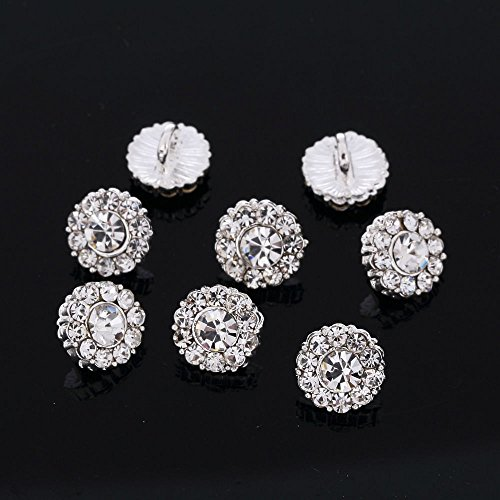 CraftbuddyUS DB6 10pcs x 10mm Round Diamante Faceted Crystal Diamante Silver Buttons