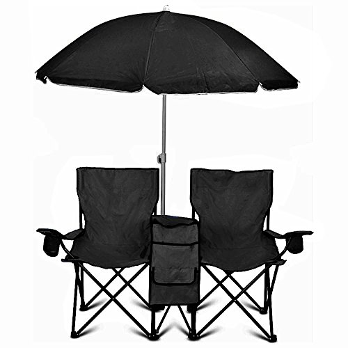 GoTeam Portable Double Folding Chair w/Removable Umbrella, Cooler Bag and Carry Case - Black (Island Shade Tent)