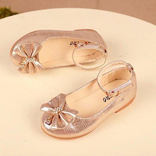 Princesa Bowknot Niña Zapatos de pequeños LMMVP de dorado Zapatos Casual Zapatos baile calidad Moda Chica niños solteros para Soild Niños YSqxAdI