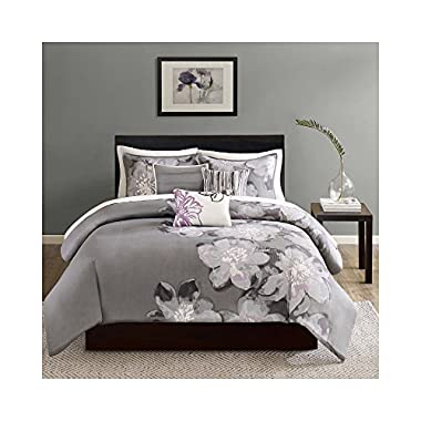 Madison Park Serena Down 200 Thread Count 6 Piece Printed Duvet Cover Set, Queen, Grey