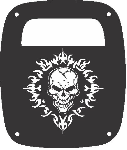 Flames Tail Light Covers - JeepTails Skull and Flames - Jeep TJ Wrangler (1997-2006) Tail Lamp Covers - Black - Set of 2