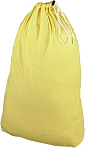 Household Essentials Polyester Jersey Drawstring Laundry Bag with Cordlock, Pastel Yellow