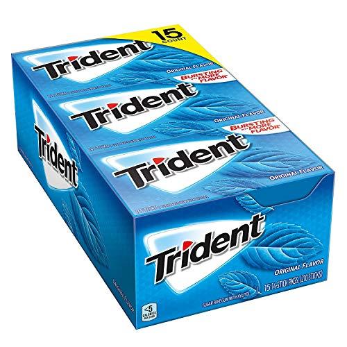 Trident Sugar Free Gum, Original Flavor, 14 Pieces, 15 Packs