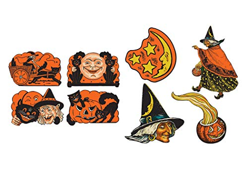 Vintage Halloween Cutout Bundle | Includes Witch, Black Cat and Jack-O-Lantern Cutouts