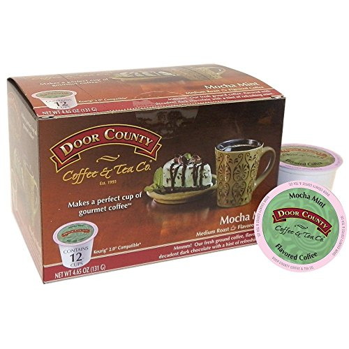 Door County Coffee Single Serve Cups for Keurig Brewers (Mocha Mint, 12 Count) (Mocha Mint)