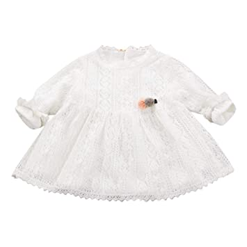Feixiang Bebé recién Nacido Vestido de Punto de algodón de Manga Larga Vestido de Princesa Vestido de Encaje de algodón Fiesta Princesa Vestido de Vestir ...