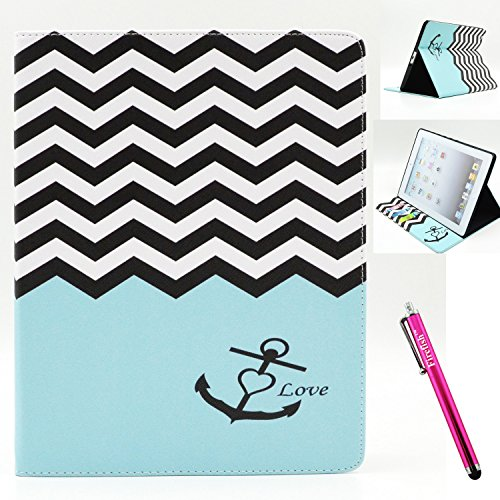 Price comparison product image iPad 2 Case,  Firefish [Bumper] [Kickstand] Anti-Slip Slim PU Leather Wallet with TPU Double Protection Flap Cover for Apple iPad 2 / 3 / 4 - Blue Anchor