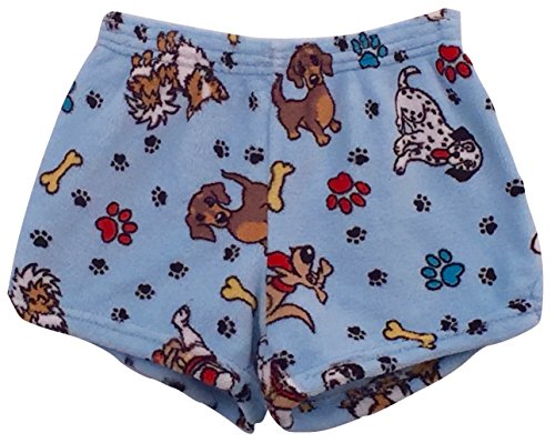Made with Love and Kisses Girl's Fuzzy Plush Pajama/Loungewear Shorts - Blue Puppies and Paws - 8/10