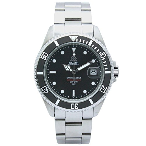 Elgin Bezel Watch (ELGIN Watch 200M waterproof Automatic Movement made in Japan rotating bezel stainless steel black ~ Silver FK1405S-B Men's)