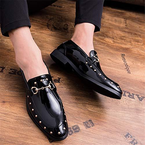 Formales de Hombres Negocios Charol pie Puntiaguda Oxford para de Cubierta Cabeza los Remache Zapatos Negro Oxford 6wTq4d6