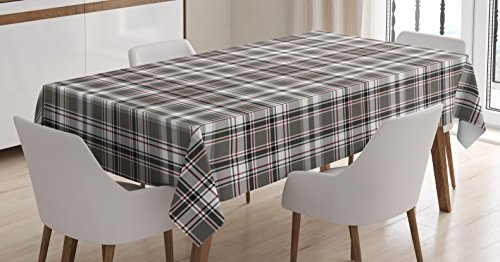Lunarable Plaid Tablecloth, Classic English Tartan Plaid Cells Stripes Scottish Geometric Traditional, Dining Room Kitchen Rectangular Table Cover, 60 W X 84 L inches, Grey Black Burgundy -