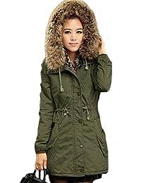 Womens Hooded Warm Winter Faux Fur Lined Coats Parkas Wool Jacket Outwear