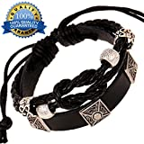 3 Square Mysterious Totem Multistrand Leather Hand-knitted Bracelet(Adjustable,Unisex)