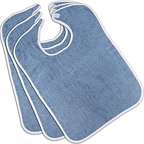 Nobles Terry Adult Bibs (3-Pack, Blue, 18 x 30 Inches) With Velcro Closure Made From 100% Cotton - Absorbent Clothing Protector - Reusable - Machine Washable Patient Bibs