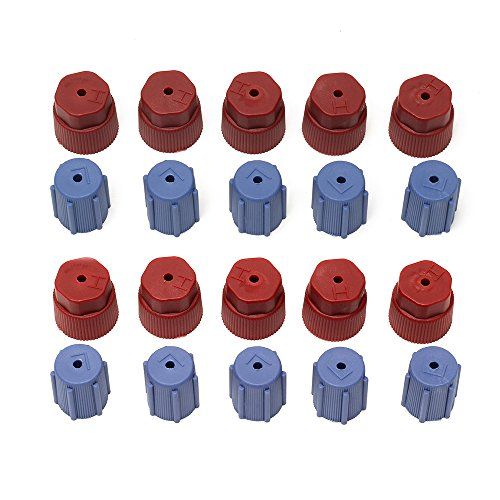 Service Port Fitting - 20Pcs/Set R134a 13mm & 16mm Air Conditioning Service AC System Charging Port Caps (10 Red High & 10 Blue Low)